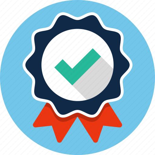 badge, certificate, check mark, ribbon icon