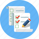 check mark, checklist, list, paper, pen, pencil icon