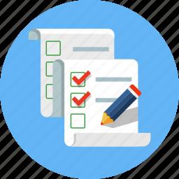 check mark, checklist, list, paper, pen, pencil icon