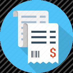 bill, buy, invoice, order, paper, receipt, ticket icon