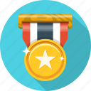 award, badge, gold, medal, star, trophy, victory icon