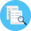 document, file, glass, magnifying, paper, preview, search icon