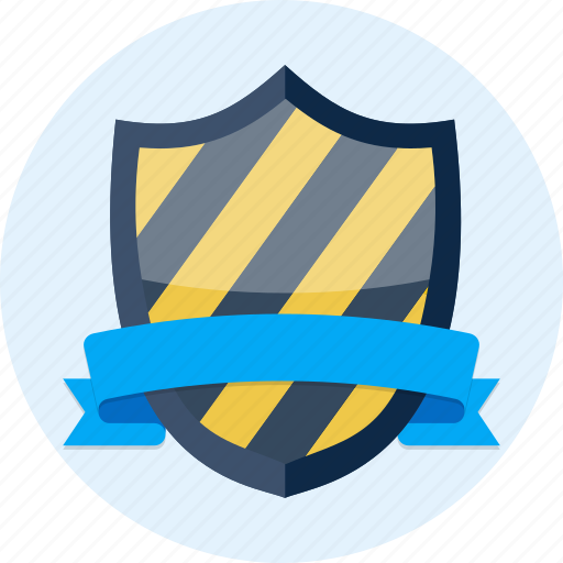 badge, banner, medieval, protection, ribbon, scroll, shield icon