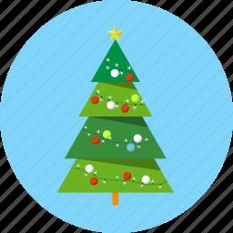 christmas, fir, gift box, lights, tree icon