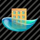 building, business, car, city, flood, tree