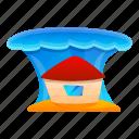 house, nature, tsunami, under, water, wave