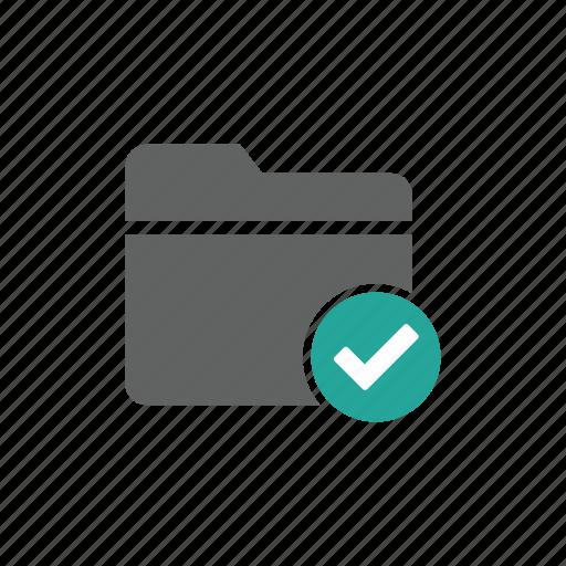 check, check mark, correct, document, file, folder icon