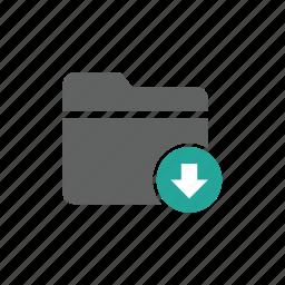 arrow, document, down, download, file, folder icon