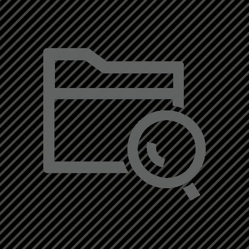 folder, magnify, magnify glass, search icon