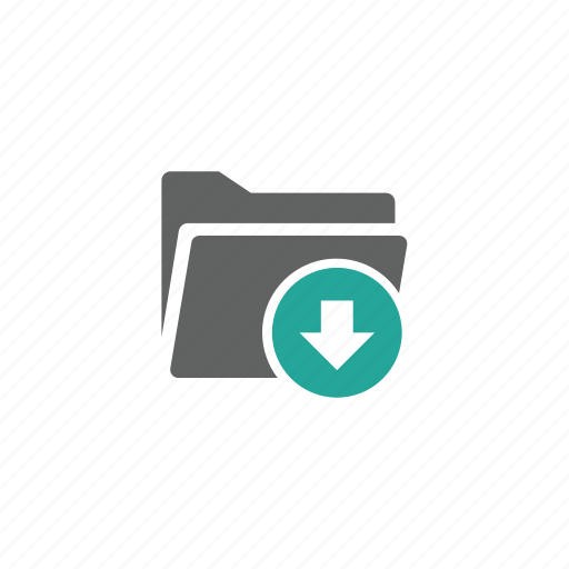 arrow, directory, down, download, file, folder icon