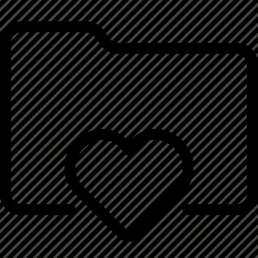folder, heart, love, valentine icon