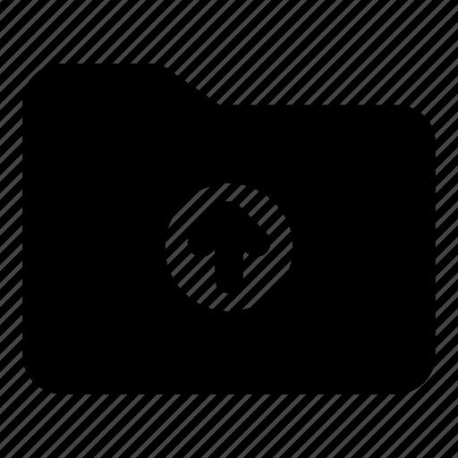 arrow, circle, folder, office, up, upload icon