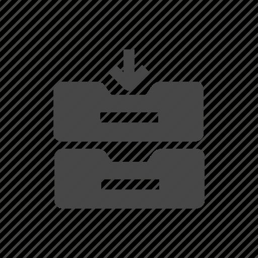 archive, arrow, documents, folder, storage icon
