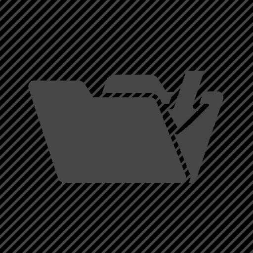arrow, down, download, folder icon