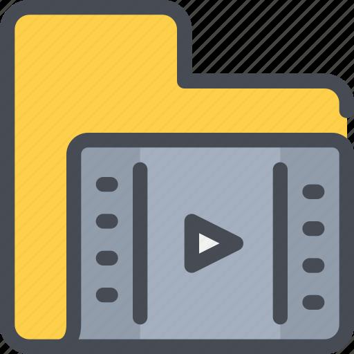 archive, file, folder, media, movie, video icon