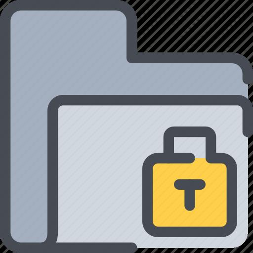 archive, file, folder, padlock, secure, security icon