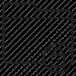 document, file, folder, unlock icon