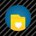document, favorite, file, folder, love, storage
