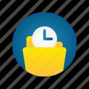 clock, document, file, folder, storage, time