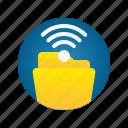 document, file, folder, network, storage, wifi