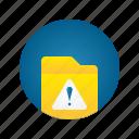 document, file, folder, storage, warning