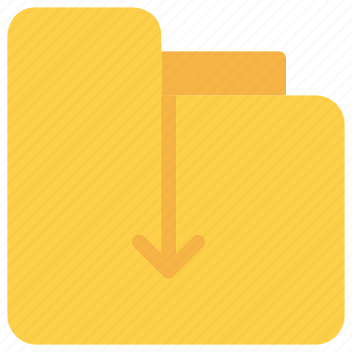arrow, document, download, file, folder icon