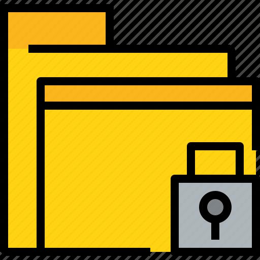 archive, business, data, document, file, folder, lock icon