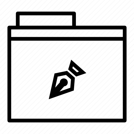document, folder, pen, pointer icon