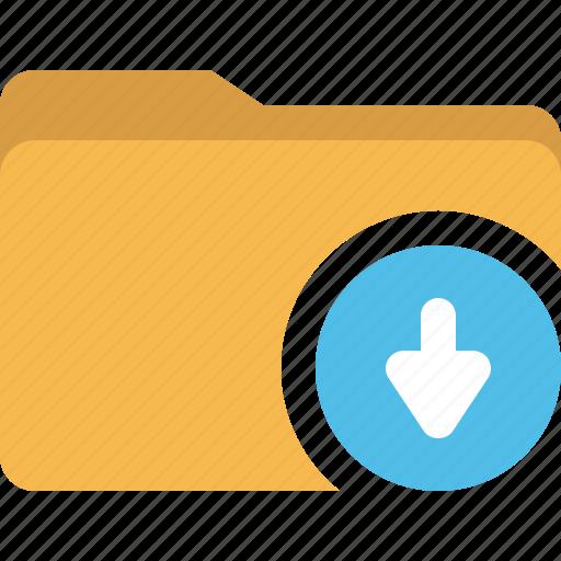 arrow, document, down, download, folder icon