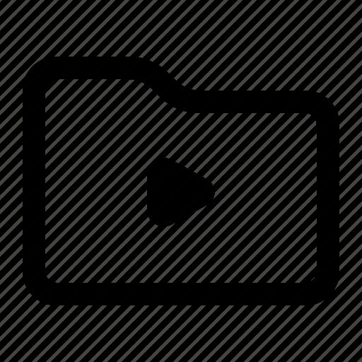 document, folder, play, video icon