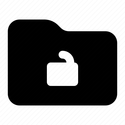 document, folder, padlock, unlocked icon