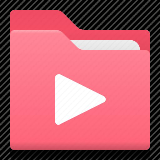 audio, document, film, folder, movie, office, play icon