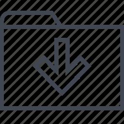 arrow, down, file, folder icon