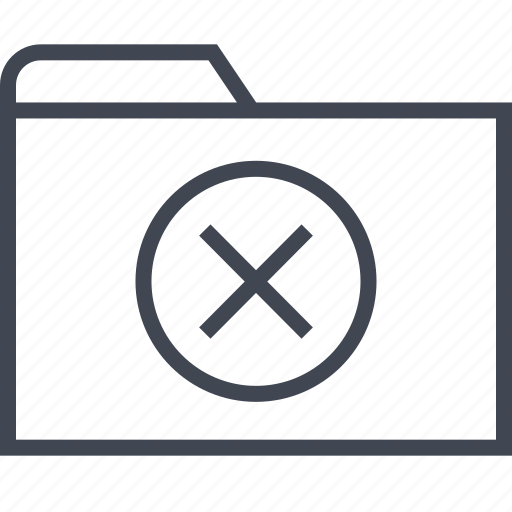 archive, cross, files, folder, stop icon