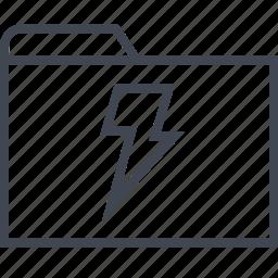 archive, files, folder, lightning, power icon