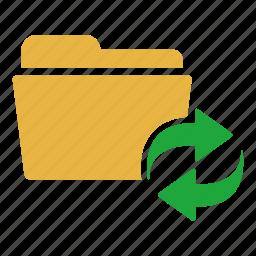 arrows, document, extension, folder, refresh, sync icon