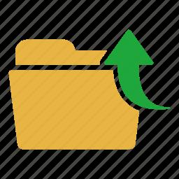 arrow, document, extension, folder, up, upload icon