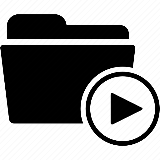 arrow, document, film, folder, movie, music, video icon