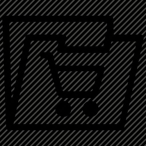 cart, folder, shopping icon