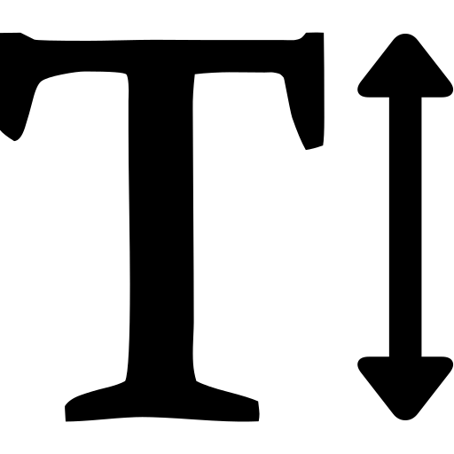 height, text icon