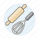 baking, beater, cooking, egg, food, hand, kitchen, mixer, pin, rolling, tools, utensils, whisk icon