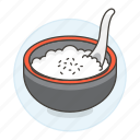 asian, bowl, cuisine, food, of, rice, spoon, steamed