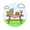 baguette, barbecue, basket, bbq, bread, burger, food, hamburger, outdoors, picnic, table icon
