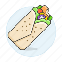 flour, fast, food, tortilla, burrito, soft, wrap, meals icon