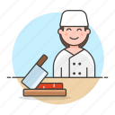 manufacturing, butcher, cutting, meat, butchery, table, female, shop, half, knife, board, beef, food icon
