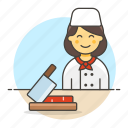 beef, board, butcher, butchery, cutting, female, food, half, knife, manufacturing, meat, shop, table icon