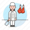 butcher, butchery, food, hanger, hanging, knife, manufacturing, meat, shop, woman icon