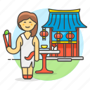 asian, chinese, chopsticks, food, restaurant, table, waitress, woman icon