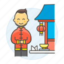 2, asian, chinese, chopsticks, food, man, restaurant, table, waitress icon