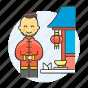2, asian, chinese, chopsticks, food, man, restaurant, table, waitress icon